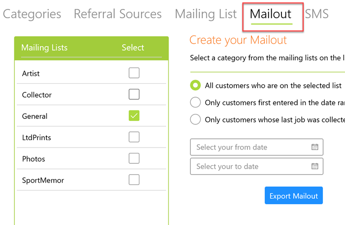 Mailouts to custmers
