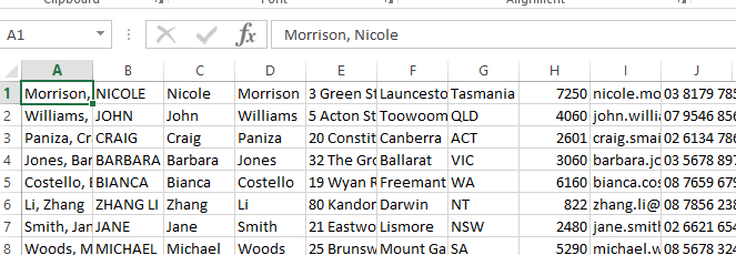 spreadsheet of mailing list