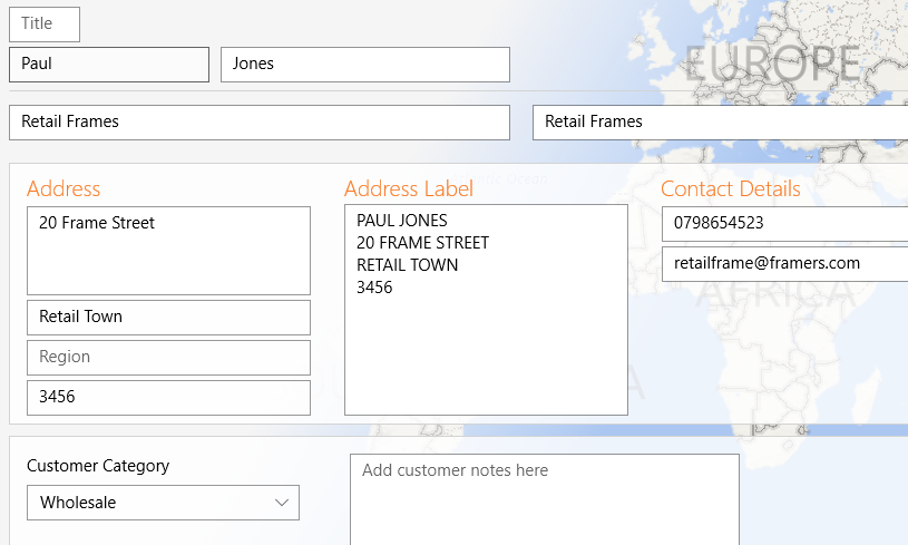 open customer form