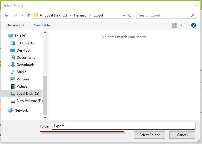 Locate export folder