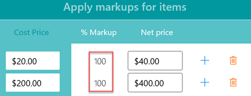 Flat rate items markup