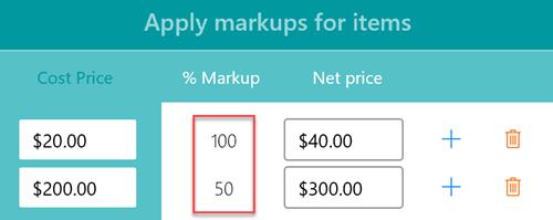 Variable items markup